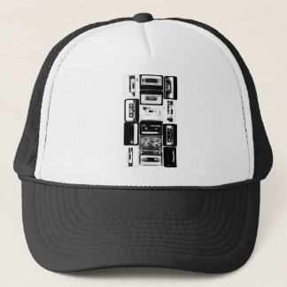 Retro audio cassette group b&w trucker hat