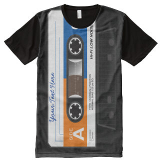 Retro Audio Cassette Mix Tape All-Over Print T-Shirt