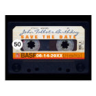 Retro Audiotape 50th birthday Save the date PostC Postcard