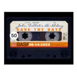 Retro Audiotape 50th birthday Save the date PostC Postcard