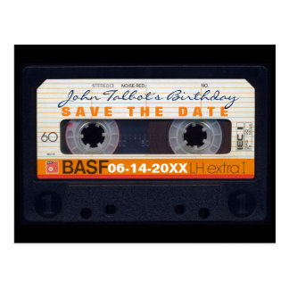 Retro Audiotape 60th birthday Save the date PostC Postcard