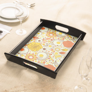 Retro Autumn Flowers & Leaves #1 Serving Tray