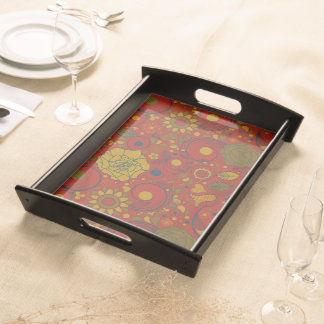 Retro Autumn Flowers & Leaves #2 Serving Tray