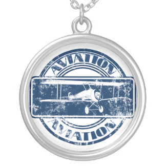 Retro Aviation Art Silver Plated Necklace