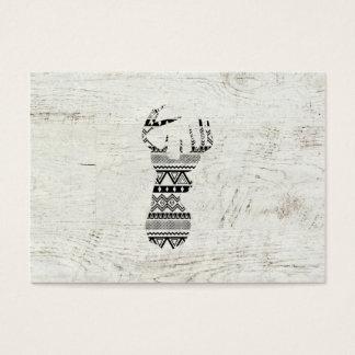 Retro Aztec Deer Head Black White Vintage Wood Business Card