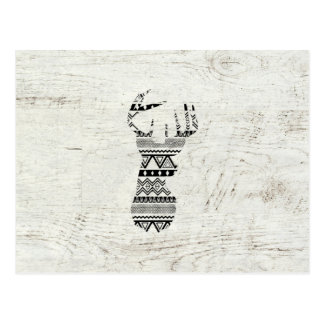 Retro Aztec Deer Head Black White Vintage Wood Postcard