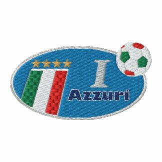 Retro Azzurri Blue logo with Italian flag Embroidered Hoody