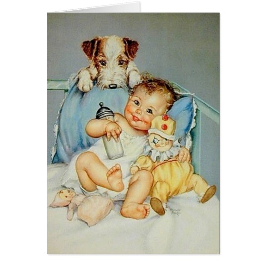 Retro Baby And Puppy Greeting Card