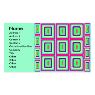 Retro baby blue pink and yellow squares business card templates