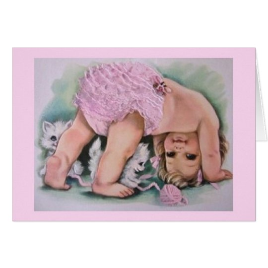 Retro Baby Girl And Kittens Note Card