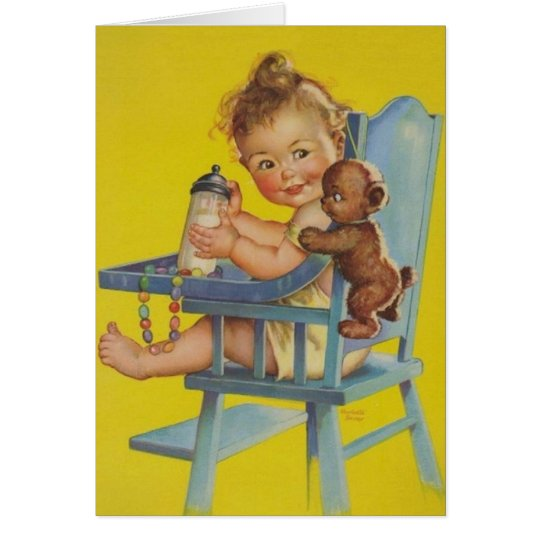 Retro Baby In High Chair Greeting Card