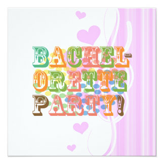 """retro bachelorette party wedding bridal shower 5.25"""" square invitation card"""