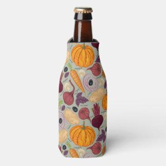 Retro background from fresh vegetables bottle cooler