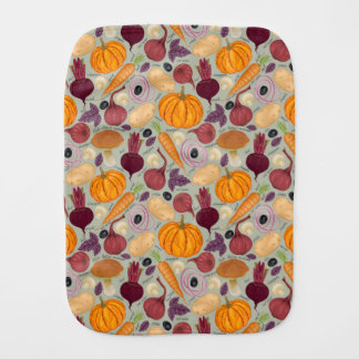 Retro background from fresh vegetables burp cloth
