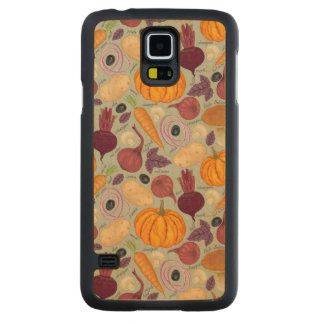 Retro background from fresh vegetables carved maple galaxy s5 case