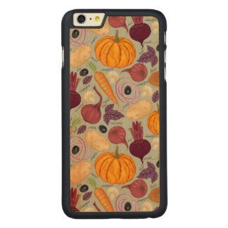 Retro background from fresh vegetables carved maple iPhone 6 plus case
