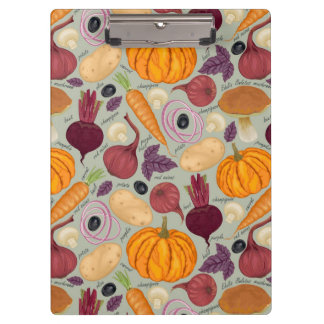 Retro background from fresh vegetables clipboard