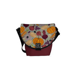 Retro background from fresh vegetables commuter bag