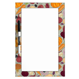 Retro background from fresh vegetables dry erase white board