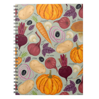 Retro background from fresh vegetables note books