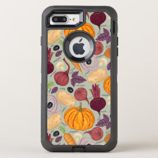 Retro background from fresh vegetables OtterBox defender iPhone 8 plus/7 plus case