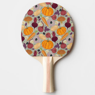 Retro background from fresh vegetables ping pong paddle