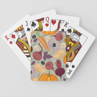 Retro background from fresh vegetables playing cards