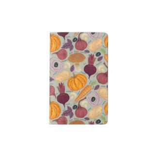 Retro background from fresh vegetables pocket moleskine notebook