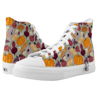 Retro background from fresh vegetables printed shoes