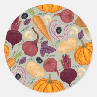 Retro background from fresh vegetables round sticker