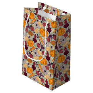 Retro background from fresh vegetables small gift bag