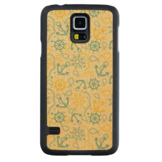 Retro background with anchor, ropes carved maple galaxy s5 case