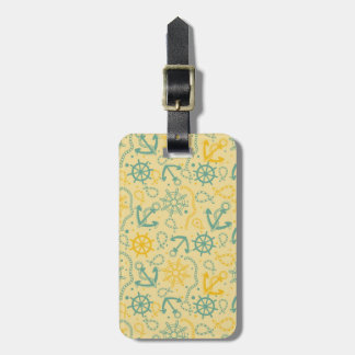 Retro background with anchor, ropes luggage tag