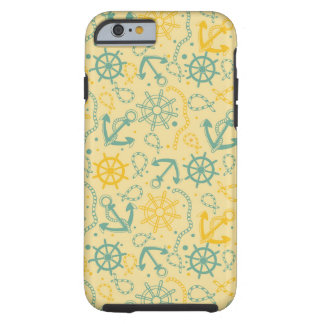 Retro background with anchor, ropes tough iPhone 6 case