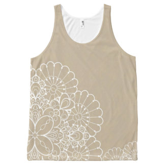 Retro background with lace ornament All-Over print tank top