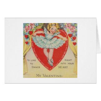 Retro Ballerina Valentine's Day Greeting Card