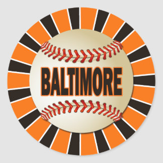 RETRO BALTIMORE BASEBALL CLASSIC ROUND STICKER