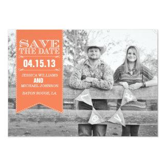 Retro Banner Save the Date | Coral 13 Cm X 18 Cm Invitation Card