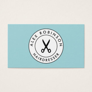 Retro barber circle scissors logo business card