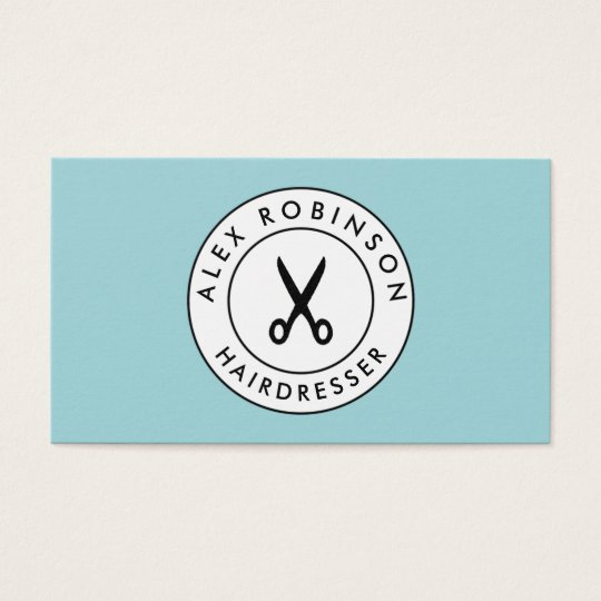 Retro barber circle scissors logo business card