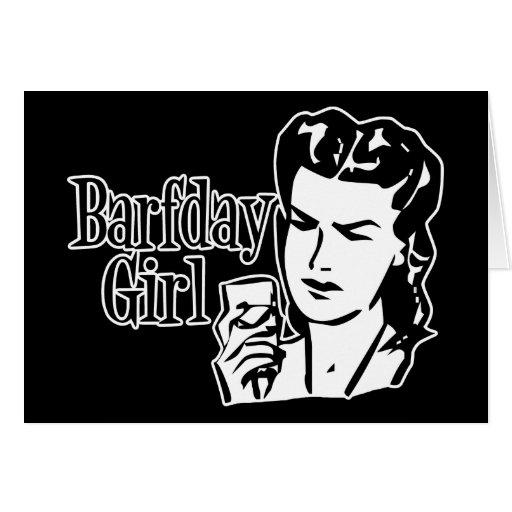Retro Barfday Girl - Black & White Greeting Card