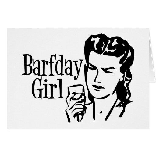 Retro Barfday Girl - Black & White Cards