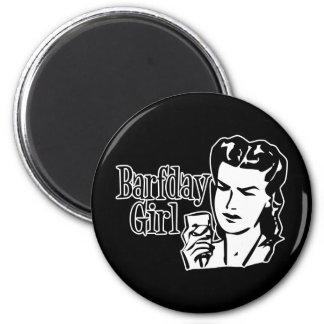 Retro Barfday Girl - Black White Fridge Magnets