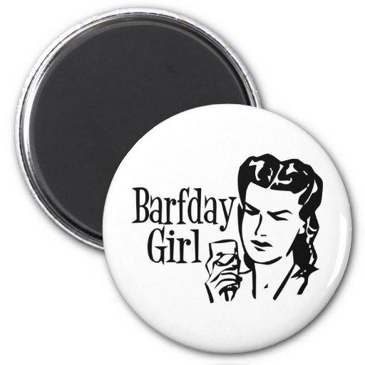 Retro Barfday Girl - Black & White Fridge Magnet