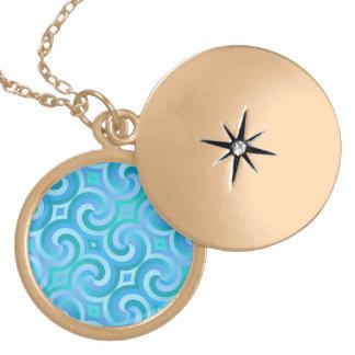 Retro Baroque Damask Pattern Round Locket Necklace