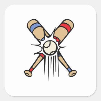 Retro Baseball Bats Square Sticker