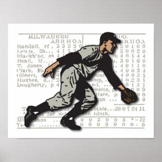 Retro Baseball Fielder Print