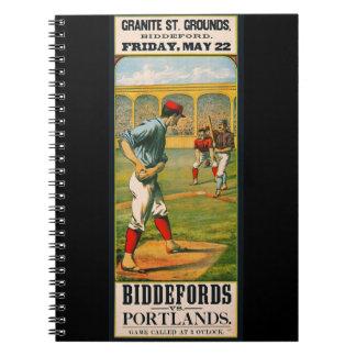 Retro Baseball Game Ad 1885 a Spiral Notebook