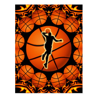 RETRO BASKETBALL PLAYER POSTCARD