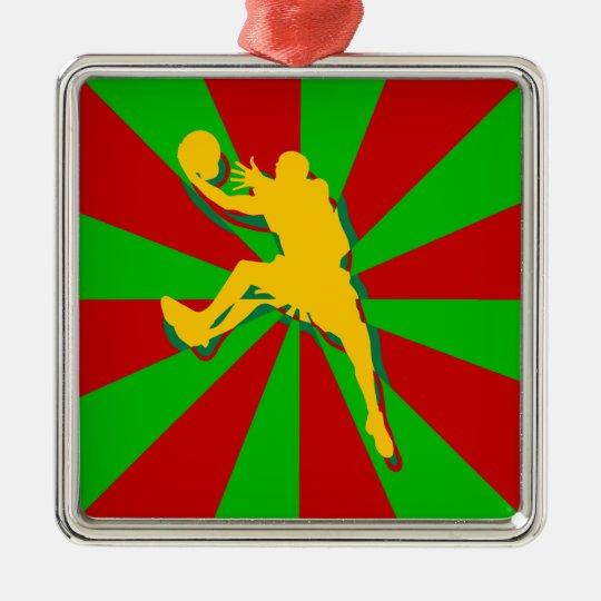 Retro Basketball Player Silver-Colored Square Decoration